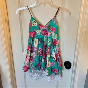 Girls Floral & Lace Babydoll Dress Braided Straps
